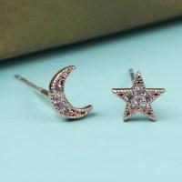 Rose Gold Moon and Star Crystal Stud Earrings | Lisa Angel