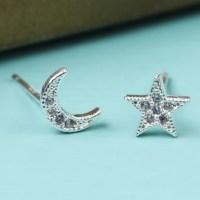 Silver Moon and Star Crystal Stud Earrings | Lisa Angel ...