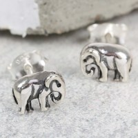 Tiny Sterling Silver Elephant Stud Earrings | Lisa Angel ...