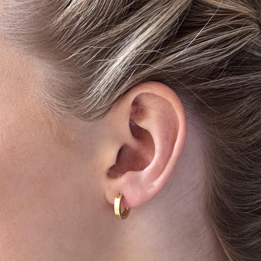 Small Wide Gold Hoop Earrings