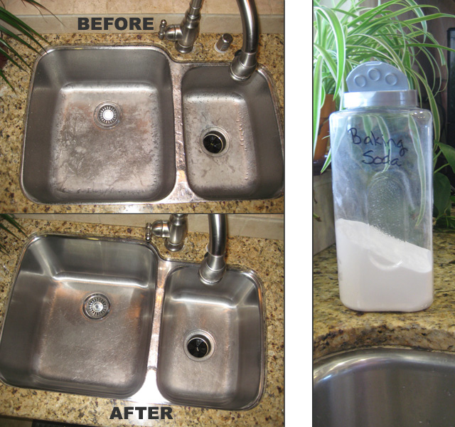 cleaning a stainless steel sink going