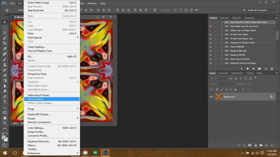Using Polymer Clay Canes to Make Repeating Patterns in Photoshop: Saving the Pattern