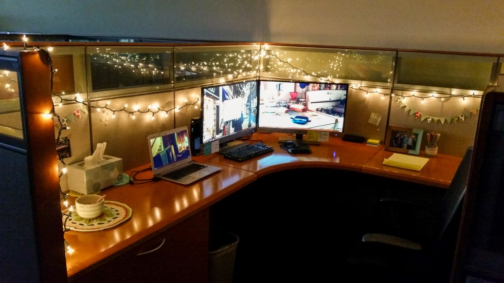 Ways to Make Your Cubicle Less Awful: Fairy Lights