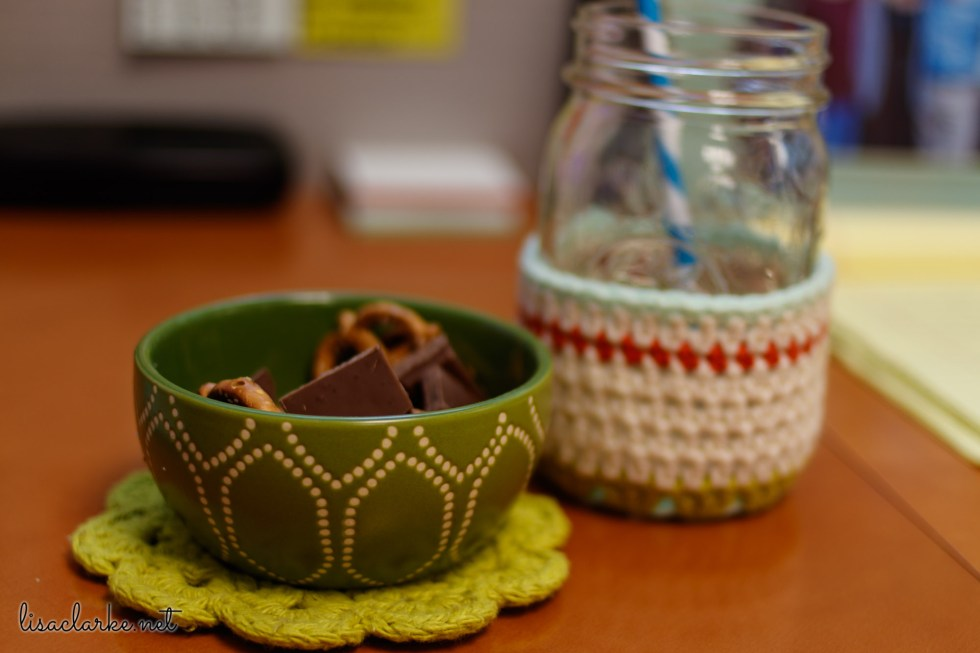 Ways to Make Your Cubicle Less Awful: Snacks in a Little Bowl