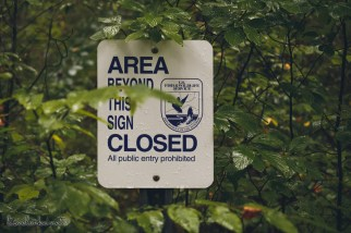 Great Swamp Wildlife Refuge area behind this sign closed