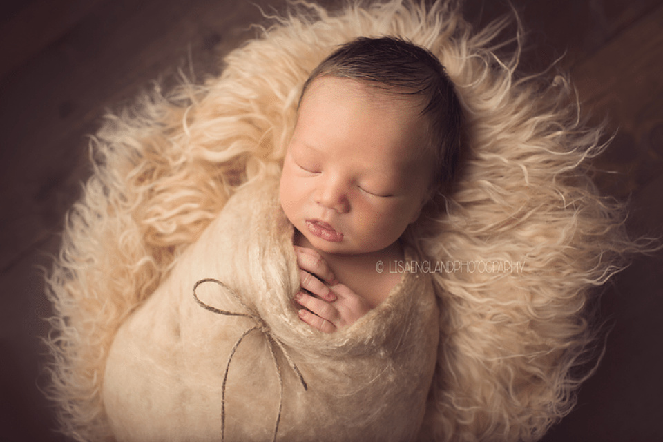 infant boy in a tan cocoon