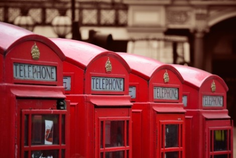 image of telephone booths to represent how to contact home organizer Lisa Holtby
