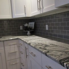 Brick Backsplash In Kitchen Small Recycling Bins For Modern Farmhouse Remodel - White Shaker Cabinets ...