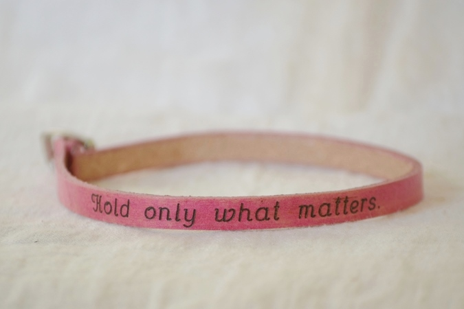 """poetic leather wrist wrap """"hold only what matters"""""""