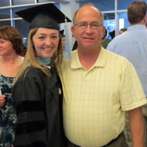 Lisa McNiven with her dad, Mike, as Lisa received her Doctor of Education degree