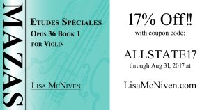 Save 17% through August 31, 2017 on Mazas Etudes Speciales Opus 36 Book 1 for Violin at LisaMcNiven.com