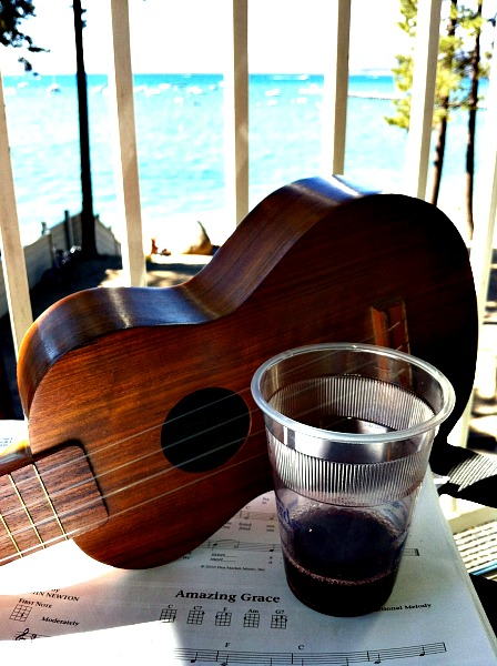 Dr. Uke on Lake Tahoe balcony. Amazing Grace at LisaNalbone.com