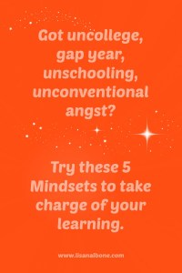 Got UnCollege Angst? Try these 5 mindsets to take charge of your learning lwww.lisanalbone.com