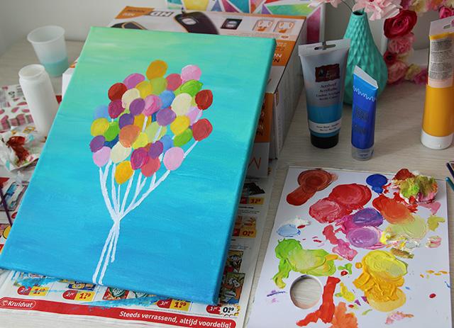 Schilderij met ballonnen  DIY  Lisanne Leeft