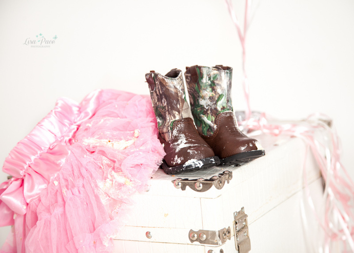 cake covered tutu and cowboy boots