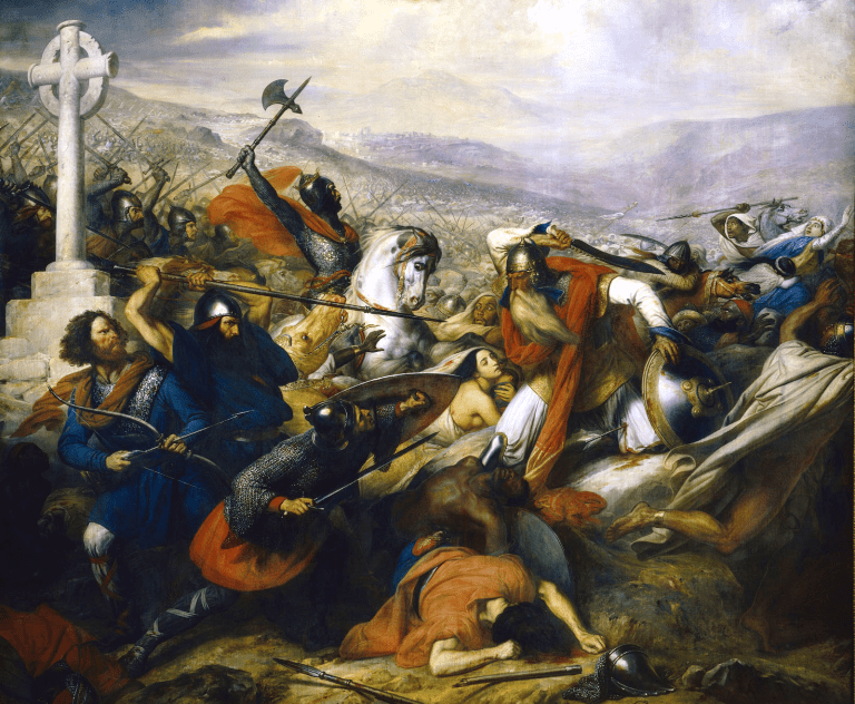 Illustration of the Battle of Poitiers made by Charles de Steuben in 1837. Here it seems that the Muslim leader on the right is an Arab, but notice that the seven people behind, next to him or at his feet - except the white woman whose presence appears as accidental - are all black.