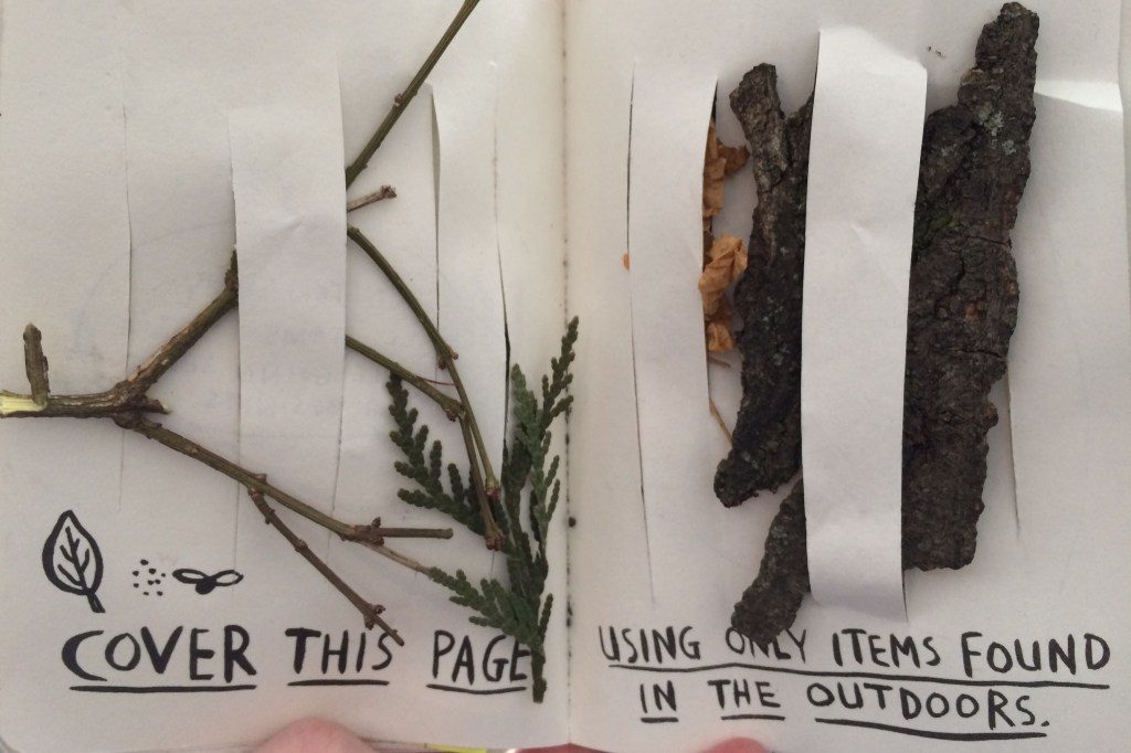 Cover this page using only items found in the outdoors.