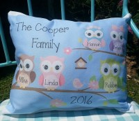 Personalized Handmade Owl Family Gift Pillow