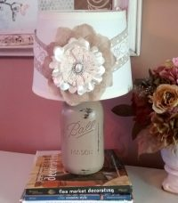 French Country Beige Mason Jar Lamp With Burlap Floral Shade