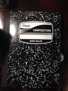 Mottled black-and-white Mead composition notebook