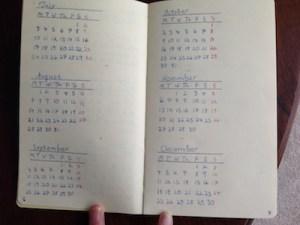 Image of a hand-written bullet journal future log