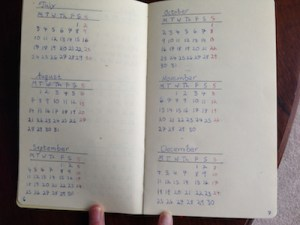 Image of a hand-written bullet journal future log