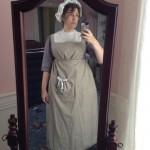 1800 linen apron, dress & cap