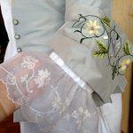 1750s silk embroidered jacket cuff, cotton ruffle