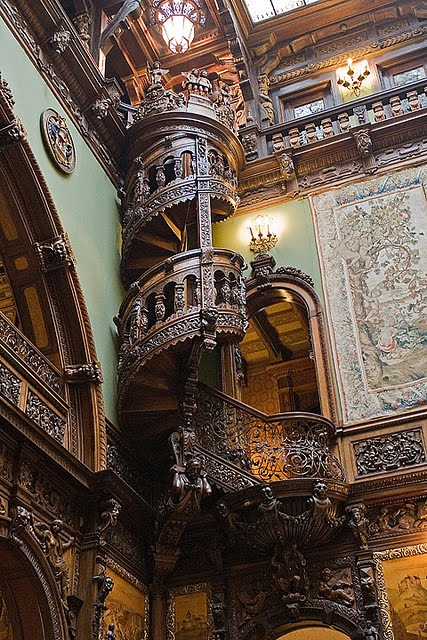Wooden Spiral Staircase, Peles Castle, Romania