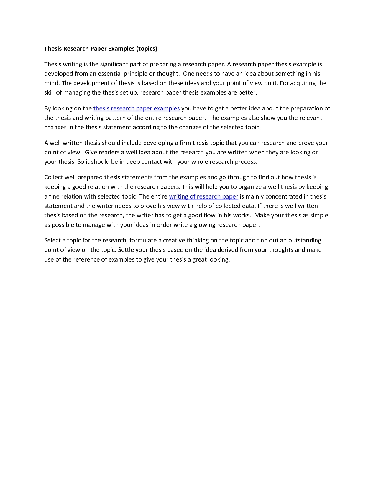 Thesis Statement Examples For Research Papers Examples