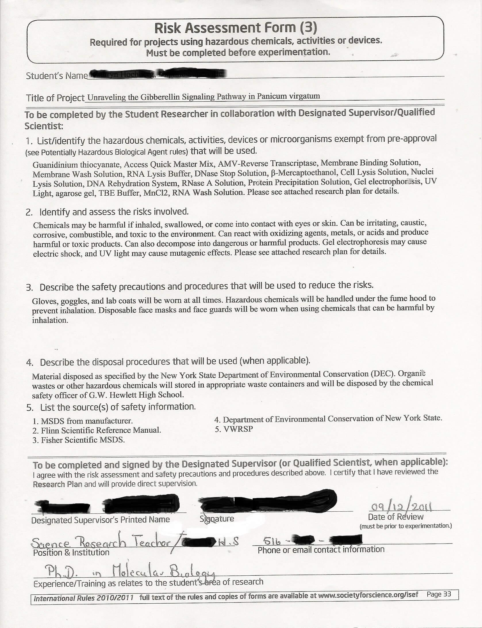 Form 3 – Risk Assessment Form (Sample) – Important