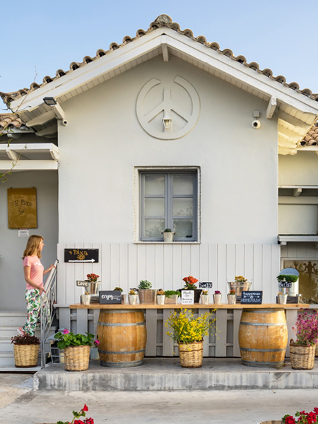 De entree van restaurant Rachi in Exantheia op Lefkas.