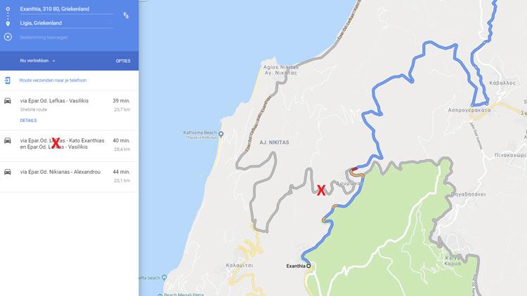 Een routekaart van Google met de wegafsluiting tussen Exantheia en Lefkas-stad.