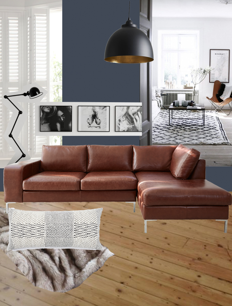 Navy living room  brown leather sofa