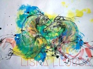 """""""Le choc"""" - encres sur papier aquarelle - 50 x 35"""
