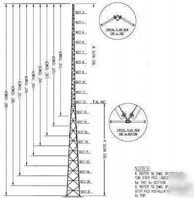 100 High Self Supporting Catv Antenna Tower