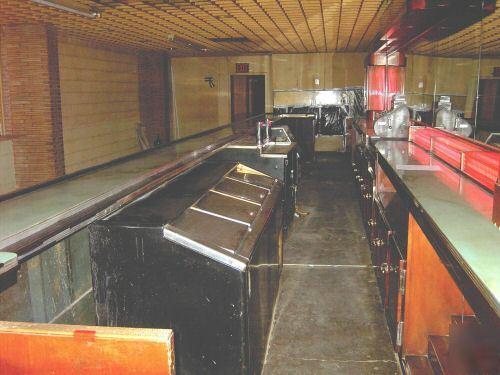 Art deco bar cash register beer taps  cases lights