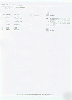 John deere 410C 510C 410D 510D hydraulic pump RE33603