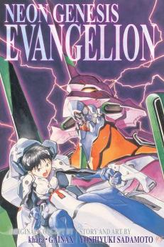 Cover of Neon Genesis Evangelion Omnibus 3-in-1 volume 1. Shinji is sitting in Unit 01 with Unit 01's head looming in the background.