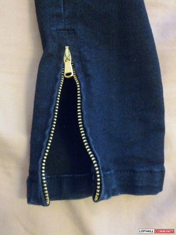 Zara Dark Denim Skinny Jeans With Zipper Bottom Size 4 Sweet List4All