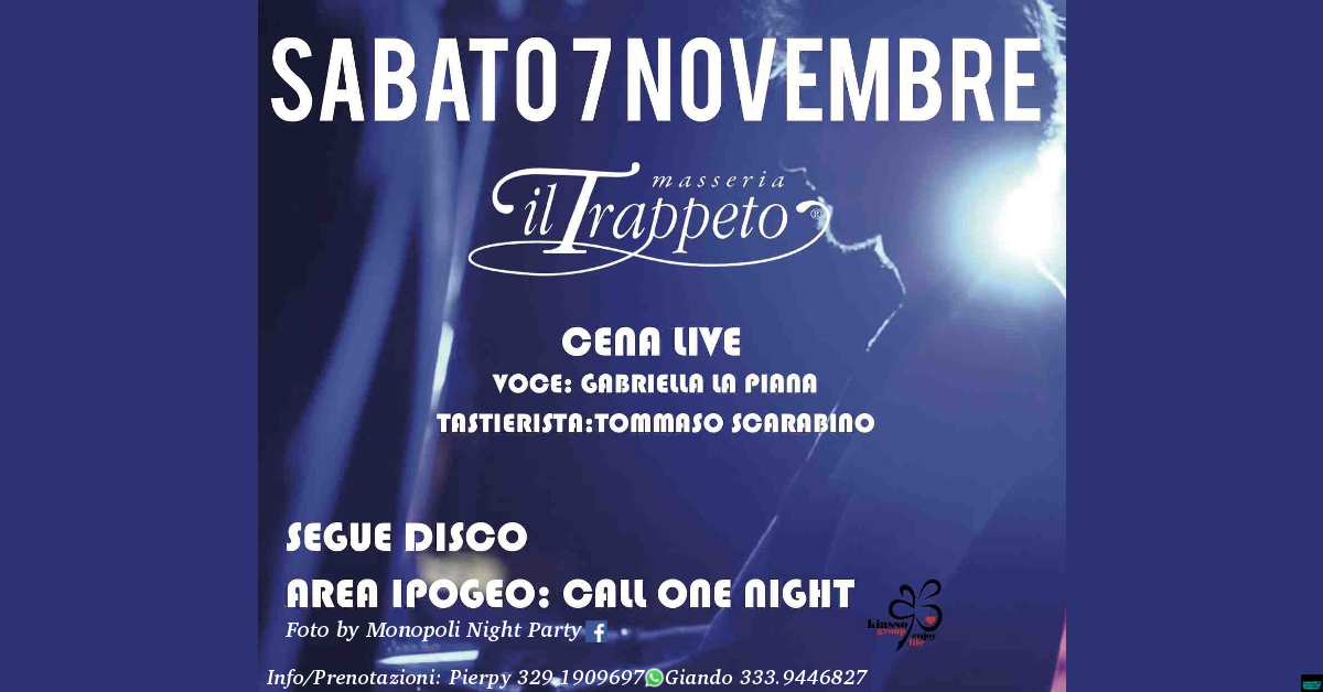 CENA Spettacolo + DISCO Ipogeo CALL ONE NIGHT @ Trappeto