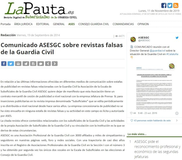 timo revista guardia civil la pauta