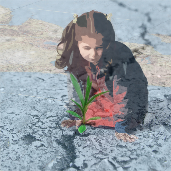 Photos of a young girl on the map of the world and a plant sprouting out of concrete. © FreeImages/Bob Smith and José A. Warletta