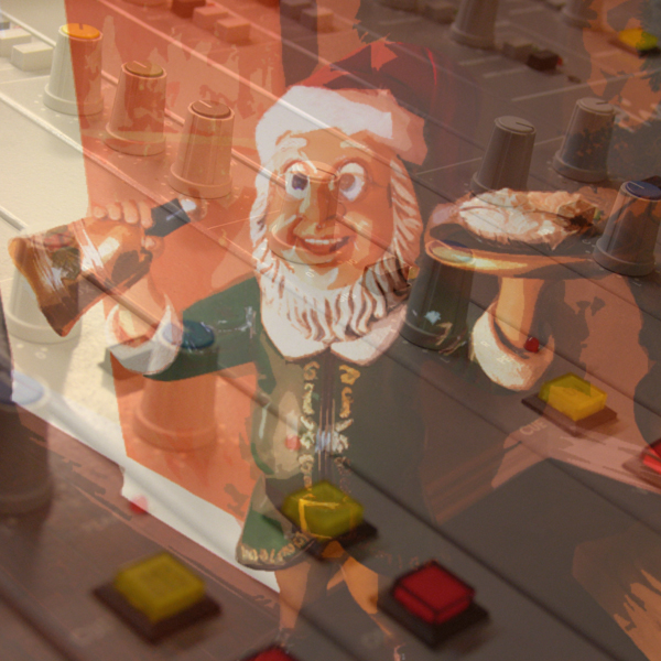 Photos of a radio mixing board and a house elf offering up food and drink © FreeImages/Martin Simonis and Donald Cook