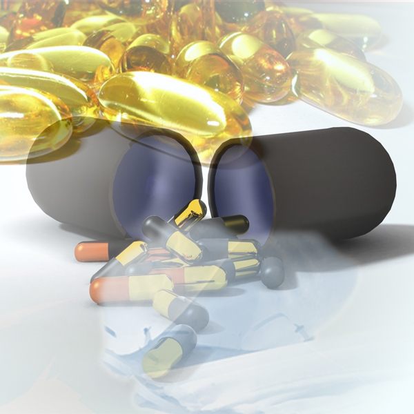 Golden pills spill out of a big capsule, as face masks fade to the background. (Photos © FreeImages/Chris Holder and pidsmannen)