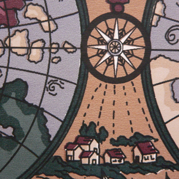 Part of a cartoon drawing of a world map, where the compass sends rays of sun over a hamlet of houses. (Photo © FreeImages/Zumberto _)