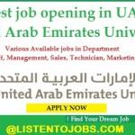 Huge Job Vacancies in United Arab Emirates University@UAE