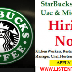 Huge Latest Job Vacancies in Starbucks | Any Graduate/ Any Degree / Diploma / ITI |Btech | MBA | +2 | Post Graduates  | Kuwait,Dubai,Saudi Arabia,UAE,Gulf