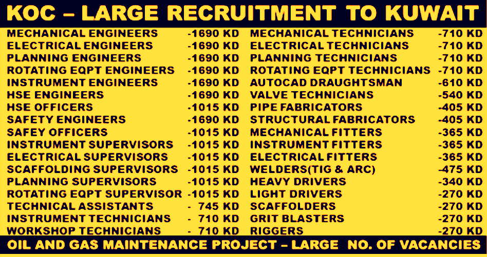 Urgent Recruitment in KOC Kuwait OIL and GAS Company| Any Graduate/ Any Degree / Diploma / ITI |Btech | MBA | +2 | Post Graduates| Kuwait   | Accommodation | Salary | Visa | Medical Insurance