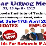 Kolar Udyog Mela 2017 | ITI certificate holders, Diploma holders, IT, BT and Engineering graduates | Last Date 17th April 2017 | Apply Online ASAP